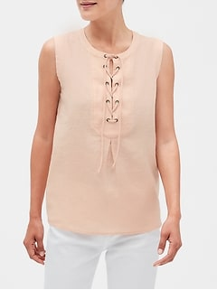 Petite Lace-Up Top