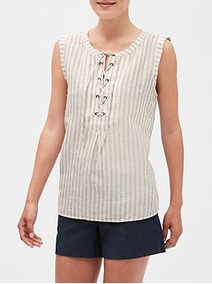 Petite Stripe Lace-Up Top