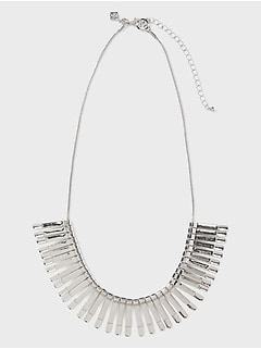 Metal Fan Bib Necklace