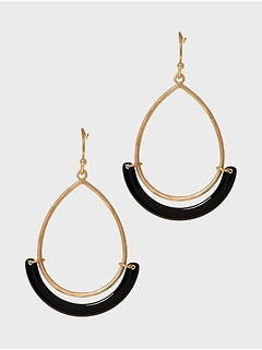Black Sling Gold Hoops Earrings
