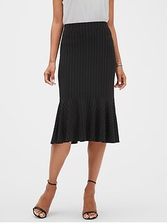 Stripe Knit Fluted Hem Midi Skirt