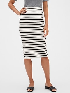 Stripe Ribbed Knit Midi Pencil Skirt