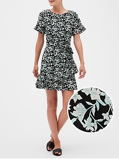 Petite Floral Print Fit and Flare Dress