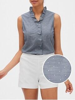 Tailored Ruffle Dot Chambray Shirt