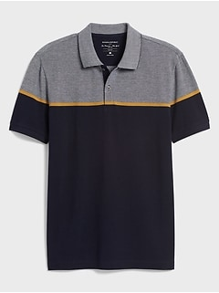 Slim-Fit Birdseye Blocked Pique Polo