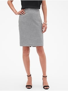 Petite Machine Washable Grey Melange Pencil Skirt