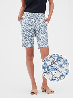 13d3a009aa Tailored Floral Print Bermuda Shorts - 10 inch inseam