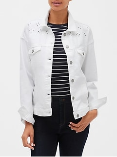 Petite White Embroidered Denim Jacket