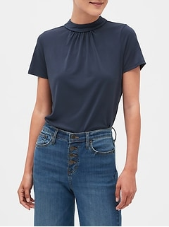 Crepe Piped Tie-Back Top