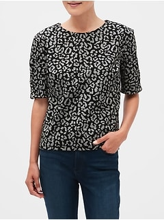 Leopard Print Cross-Over Sleeve Top