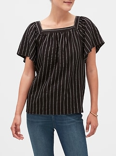 Stripe Yarn-Dye Square Neck Top