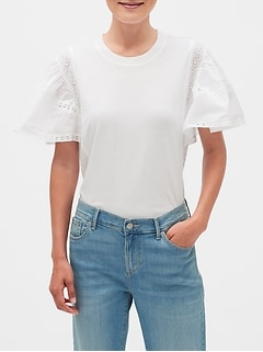 Mixed Material Lace Flutter Sleeve Top
