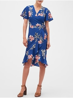 Petite Floral Print Flirty Wrap Midi Dress