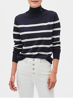 Striped Washable Merino Turtleneck Sweater