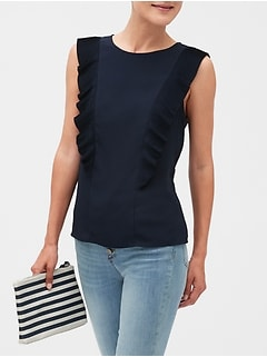 Pleated Ruffle Top