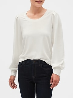Puff-Sleeve Scoop-Neck Sweatshirt