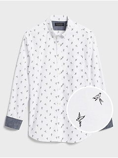 Standard-Fit Soft-Wash Stretch Print Shirt
