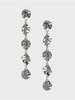 Multi-Shape Silver Drop Earrings