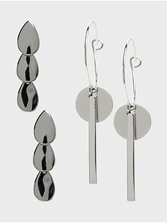 Silver Drop 2 Pack Earrings