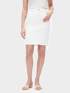 White Raw Hem Denim Pencil Skirt