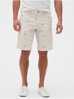 "11"" Emerson Straight-Fit Palm Print Shorts"