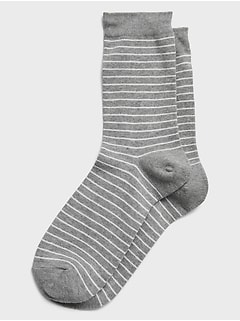 Heather Grey Stripe Socks