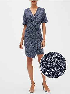 Petite Print Knotted Faux-Wrap Dress