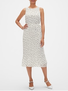 Petite Pleated Dot Midi Dress