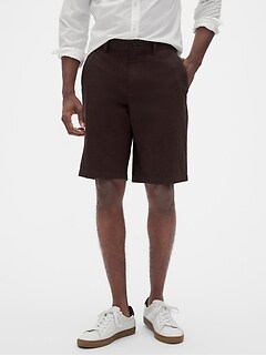 "11"" Emerson Straight-Fit Brown Texture Shorts"