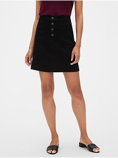 Black Denim Button Front A-Line Skirt