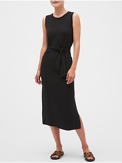 Petite Tie-Waist Column Midi Dress