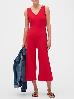 Petite Knit V-Neck Crop Jumpsuit