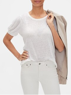 Linen Blend Puff Sleeve Top