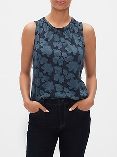Jacquard Shirred Tank