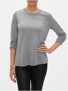 Petite Machine Washable Merino Wool Crew Neck Sweater