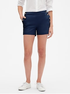 Petite Pique Sailor Shorts - 4 inch inseam