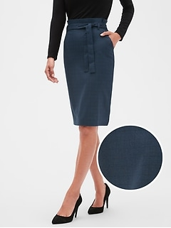 Petite Washable Blue Plaid Tie-Waist Pencil Skirt