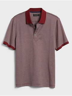 Slim-Fit Jacquard Dress Polo