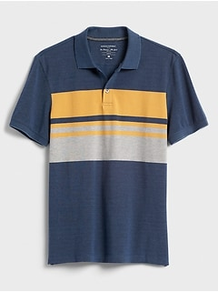 Slim-Fit Chest Stripe Pique Polo