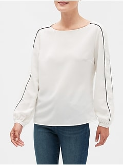 Piped-Sleeve Top