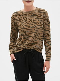 Petite Animal Print Terry Sweatshirt