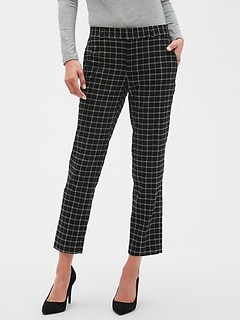 Petite Avery Menswear Grid Tailored Ankle Pant