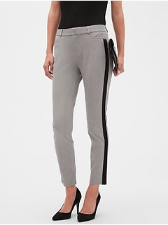 Curvy Sloan Heathered Grey Side Stripe Slim Ankle Pant