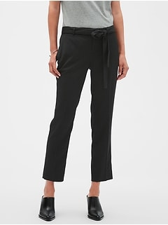 Petite Avery Tie-Waist Pinstripe Tailored Ankle Pant