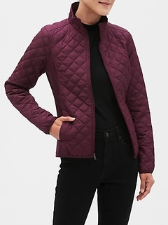 Petite Mixed Media Quilted Jacket