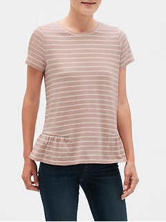 Stripe Ruffle-Side T-Shirt