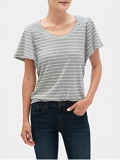 Stripe Puff Sleeve T-Shirt