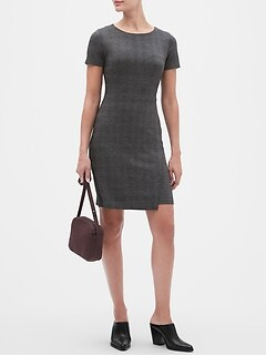 Novelty Plaid Knit Wrap Sheath Dress