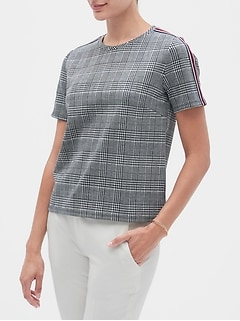 Textured Shoulder Stripe Top