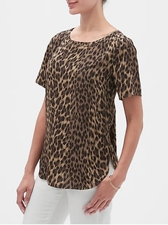 Print Hi-Low Hem Crew Neck Top